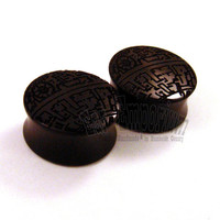 "Deathstar Ebony Wooden Plugs PAIR 10mm 7/16"" (11mm) 1/2"" (13mm) 9/16"" (14mm) 5/8"" (16mm) 3/4"" (19mm) 7/8"" (22mm) 1"" and up - Wood ear gauges"