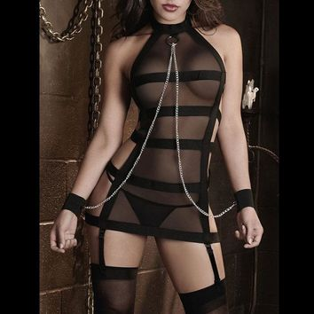 Mesh Chiffon with Chain Back band Lingerie Bridal Wedding Party Sleepwear Underwear Nightwear