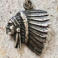 Indian Chief's Profile Pendant in Sterling Silver