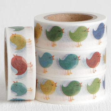 Cartoon Sparrow Bird Washi Tape, Red Blue Green Yellow Chick Paper Tape 15mm