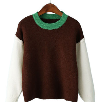 Coffee Color Block Drop Shoulder Fluffy Sweater