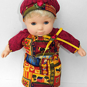 "American Girl Bitty Baby Clothes 15"" Doll Clothes 1 Burgundy Red Blue Yellow Cow Peasant Dress & Hat 2pc"