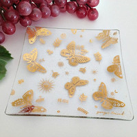 Vintage Georges Briard Glass Tray Dish Atomic Butterflies