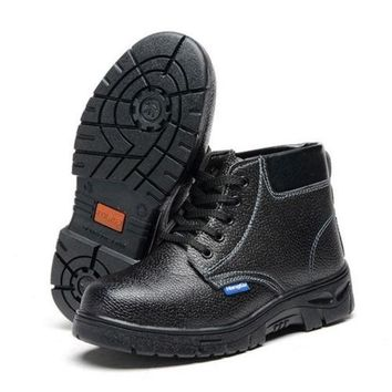 Work Safety Shoes Boots Cow Leather Smash-proof Penetration-resistant High Cut