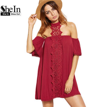 SheIn Dress Clothes Women Burgundy Embroidered Lace Applique Halter Neck Half Sleeve Beach Dress