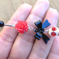 Dia De Muertos Belly Button Ring Navel Piercing Jewelry Day Of The Dead Halloween Skull Black White Red Rose Bar Barbell