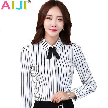 Autumn women long sleeve blouse OL elegant stripe bow tie turn-down collar Formal chiffon shirts office ladies work wear tops