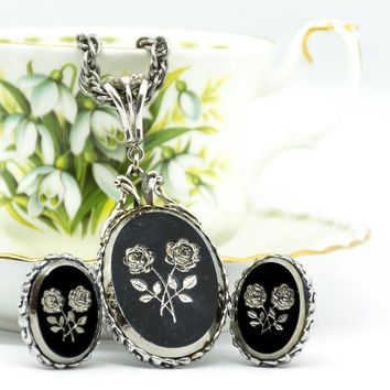 Vintage Whiting and Davis- Vintage Necklace - Vintage Earrings - Carved Floral - Black Flower Necklace - Mom Gift - Gift for her