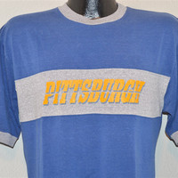 80s Pitt Pittsburgh University Champion Blue Gray Ringer t-shirt Medium