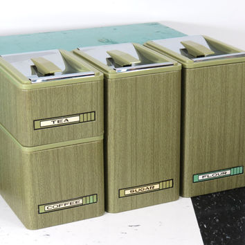 Mid Century Kromex Canister Set . Avocado Green . 1960s Modern . Set of 4 Stacking Canisters Flour Sugar Coffee Tea