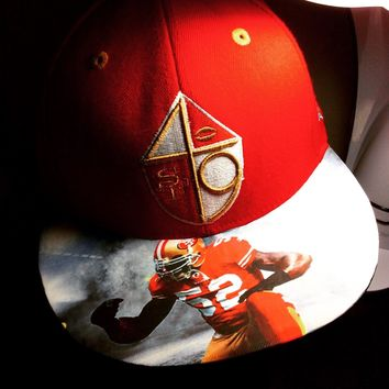 San Francisco 49ers New Era Snapback or Fitted Cap with Custom Image on the Bill