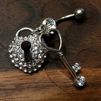 Rhinestone Heart Lock & Key Belly Button Ring