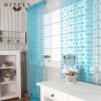 Luxury Modern Romantic heart line door curtain tulle curtain for living room bedroom bathroom hotel wedding home decoration blue