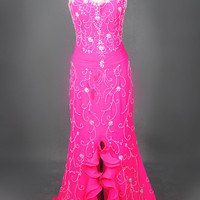 2013 Style Full Beads And Crystal Ruffle in waist Sweetheat Flare Chiffon Evening Prom Dresses
