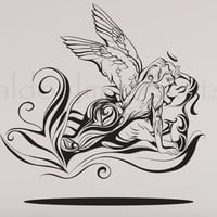Angel and elemental demon lovers silhouette vinyl wall decal, wall sticker, decal, vinyl decal, home decor, graphic decal, wall art