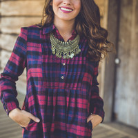 Young and Free Flannel Dress in Burgundy