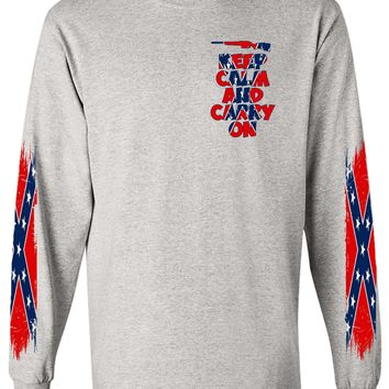 Men's Confederate Rebel Flag Long Sleeve Shirt Keep Calm And Carry On 4 Sides Graphic