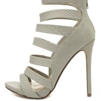 Strappy Snake-Textured Caged Heels by Charlotte Russe - Lt Gray