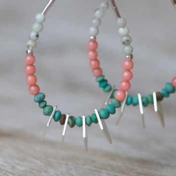 Coral turquoise beaded earrings: sterling silver jewelry