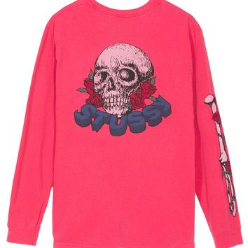 Skull & Roses Pig. Dyed L/SL Tee