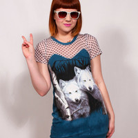 White Wolves  and Polka Dot Dress MADE TO ORDER by imyourpresent