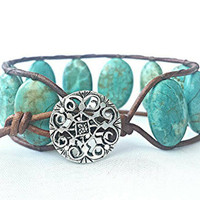 leather wrap bracelet, beaded wrap bracelet, wrap bracelet, leather wrap, leather bracelet, turquoise leather wrap bracelet, western jewelry