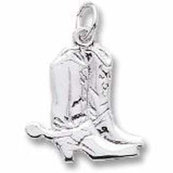 Cowboy Boots Charm In 14K White Gold