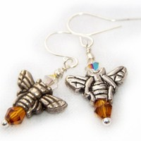 HONEYBEE - Amber and Silver Honey Bee earrings | VeritasCrafts - Jewelry on ArtFire
