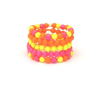 Neon Swarovski Pearl Stack Rings Set of 5 by SassyBelleWares