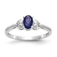 10k White Gold Oval Genuine Dark Blue Sapphire Diamond Hearts Ring