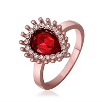 MLOVES Women's Classical Ruby Embedded Ring