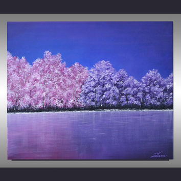 Original Abstract Modern Lavender Pink Blue Landscape Tree Painting 24x20 Ready to Hang Contemporary Home Decor