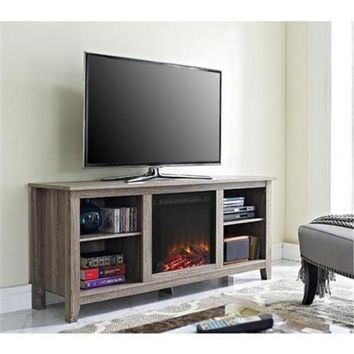 """58"""" Driftwood TV Stand with Fireplace Insert"""