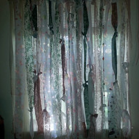 Boho Chic Handmade Rag Curtain with a String of Beads, Hippie Style Curtains, Bohemian Style Curtains
