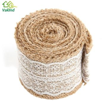 5M Natural Burlap Hessian Ribbon Roll With Lace Trim Tape Cake Topper Rustic Wedding Decoration Wedding Party Decor