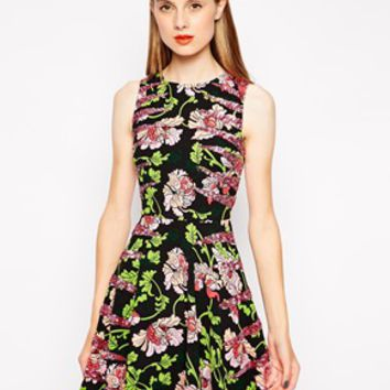 Manoush Floral Skater Dress with Sequin Detail