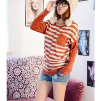 Orange Women Korean Long Sleeve Scoop Cross Stripe Cotton T-shirt M/L @WH0388o $9.99 only in eFexcity.com.