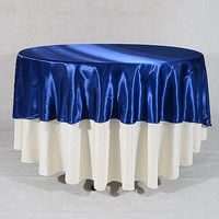 108 Inch Satin Round Tablecloths Navy Blue