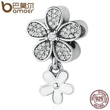 925 Sterling Silver Dazzling Daisy Duo, White Enamel & Clear CZ Pendant Charms fit Bracelets & Necklaces Jewelry PSC077
