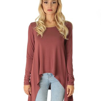Lyss Loo Shift and Swing Long Sleeve Marsala Tunic Top