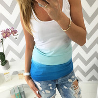 Striped Color Sleeveless Tank