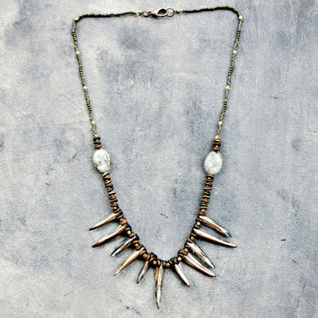 Blue Shell Fan Tribal Statement Necklace with Kyanite and Brass Beads Bohemian Earthy Jewelry