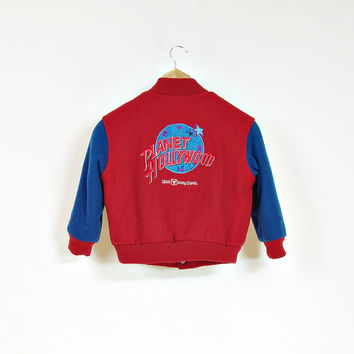 1991 PLanet Hollywood Kids Bomber Jacket / Made in USA / 90s Super Rare Walt Disney World Wool Outerwear