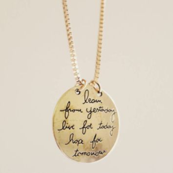 Inspirational Jewelry Necklace Gift Quotes Gold 'Live The Life You Love""
