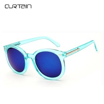 Curtain Korean Round Reflective Sunglasses Women Classic Fashion Brand Color Membrane Steampunk Sun Glasses Men Female Y9711