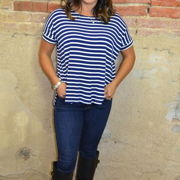 Some Like It Striped Top: Navy and White