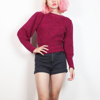Vintage 1980s Sweater Chunky Knit Puff Sleeve Slouchy Jumper 80s Poet Sleeve New Wave Mod Raspberry Dark Pink Cozy Sweater XS S Small M