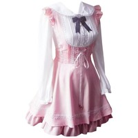 Patiss Women's Sweet Synthetic Knotted Lolita One-Piece Dress