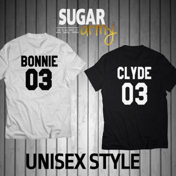 Bonnie 03 Clyde 03 couple shirts, Couple tees Bonnie & Clyde, shirts for couples, St Valentines shirts, 100% Cotton T-shirts