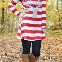 Glitter Reindeer Striped Tunic - Red